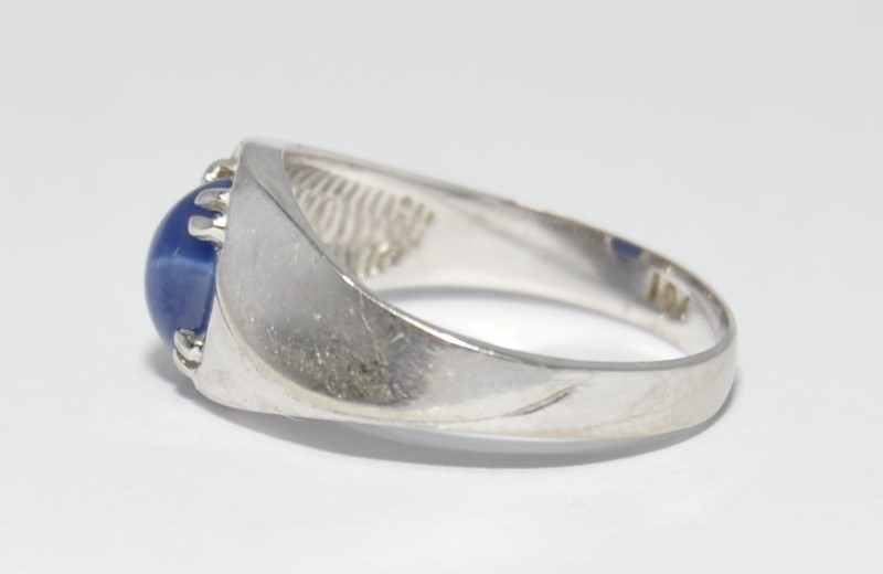 10K White Gold Recessed Star Sapphire Textured Band Ring Size 6.75