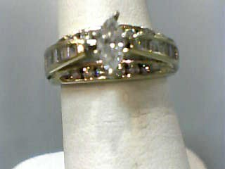 Lady's Diamond Engagement Ring 31 Diamonds .87 Carat T.W. 14K Yellow Gold