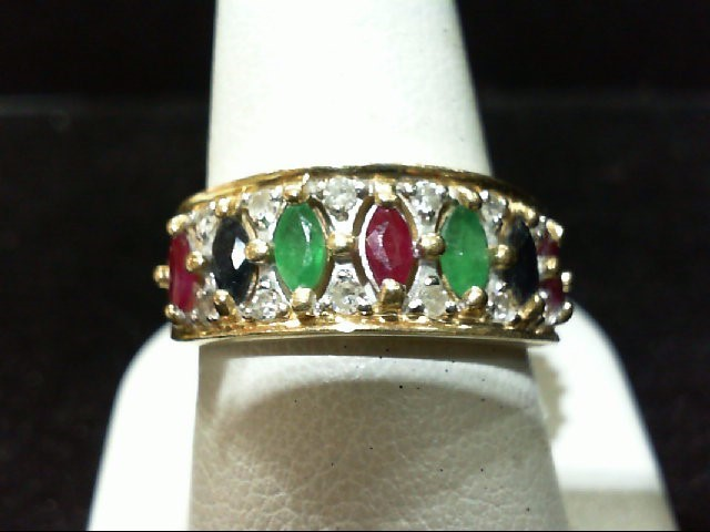 Ruby Lady's Stone & Diamond Ring 12 Diamonds .12 Carat T.W. 14K Yellow Gold