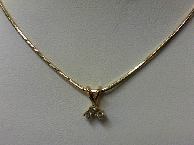 Diamond Necklace 3 Diamonds .15 Carat T.W. 14K Yellow Gold 6.9g