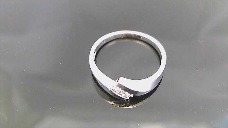 Lady's Gold-Diamond Anniversary Ring 3 Diamonds .03 Carat T.W. 10K White Gold