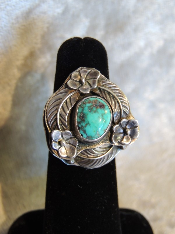 Navajo Turquoise Sterling Flower Layered Ring Terrence Hunt Sun Boy SUNBOY