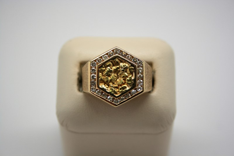 GENT'S DIAMOND NUGGET STYLE RING 14K/18K YELLOW GOLD