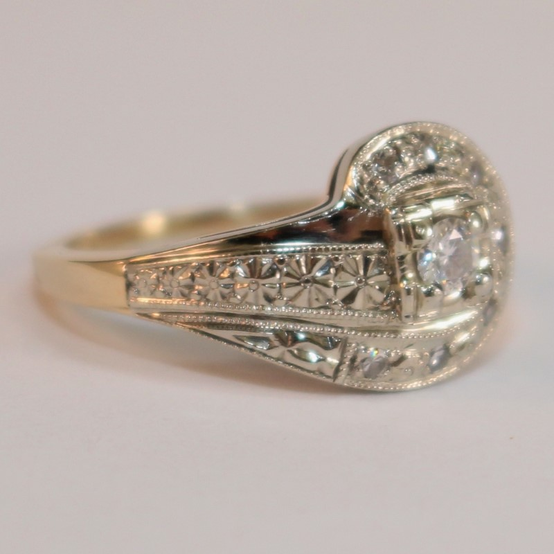 14K Yellow Gold Vintage Inspired Diamond Cluster Ring Size 5.75