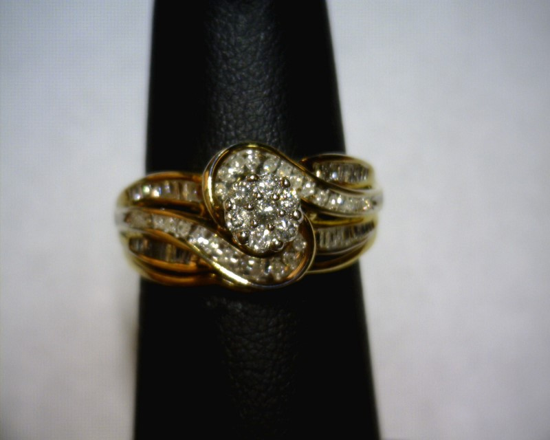 Lady's Silver-Diamond Ring 68 Diamonds .82 Carat T.W. 925 Silver 3dwt Size:7