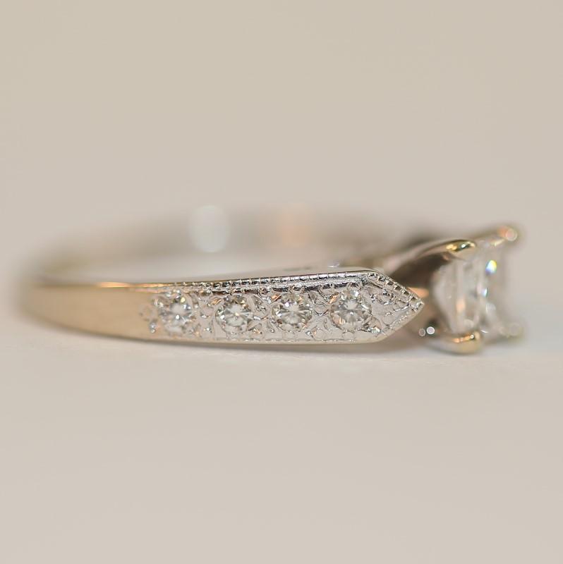 14K W/G Illusion Princess & Round Diamond Engagement Ring Size 4.5