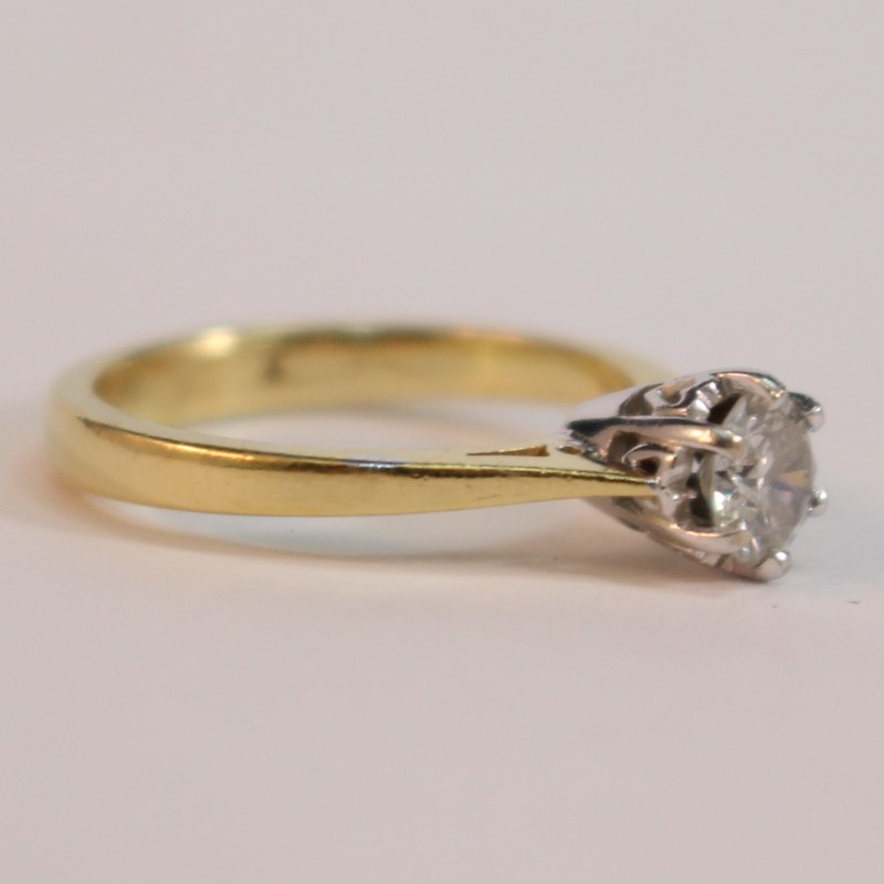 14K Y/G Heart Set Round Brilliant Diamond Solitaire Ring Size 4.8