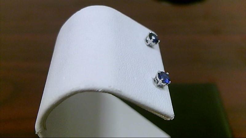 Tanzanite Gold-Stone Earrings 14K White Gold 0.6g