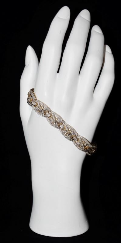 """Smashing Two Tone Yellow & White Gold Diamond Floral Inspired Bracelet 7"""""""