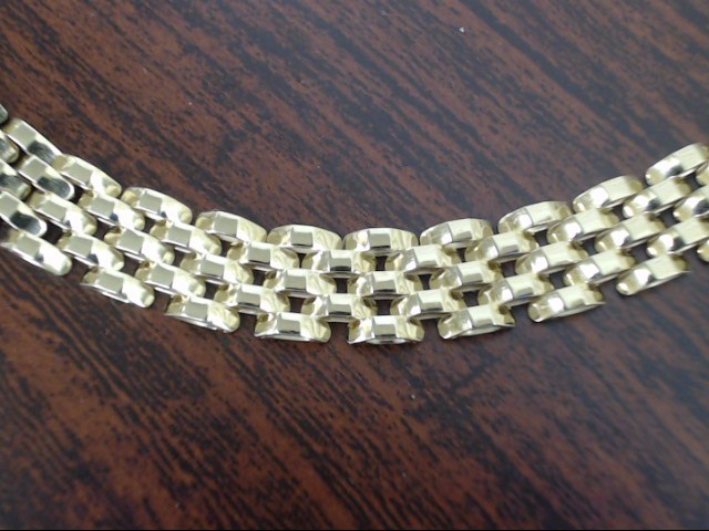 VINTAGE SOLID REAL 14K YELLOW GOLD BRICK PATTERN BRACELET ITALY 7""