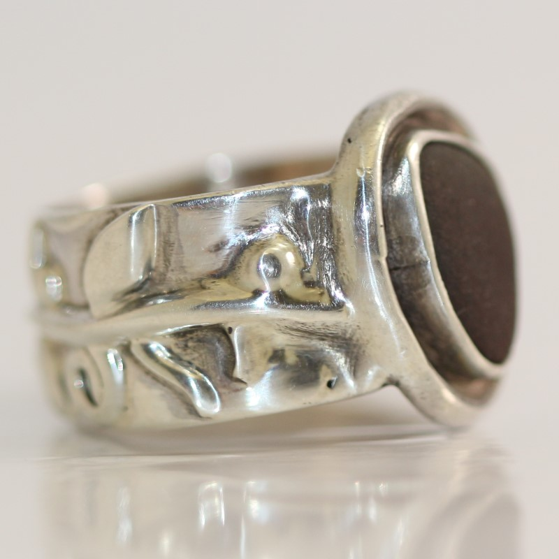 Sterling Silver Vine Design Brown Stone Ring Size 8