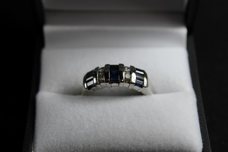 Lady's Sapphire & Diamond 14K White Gold Ring