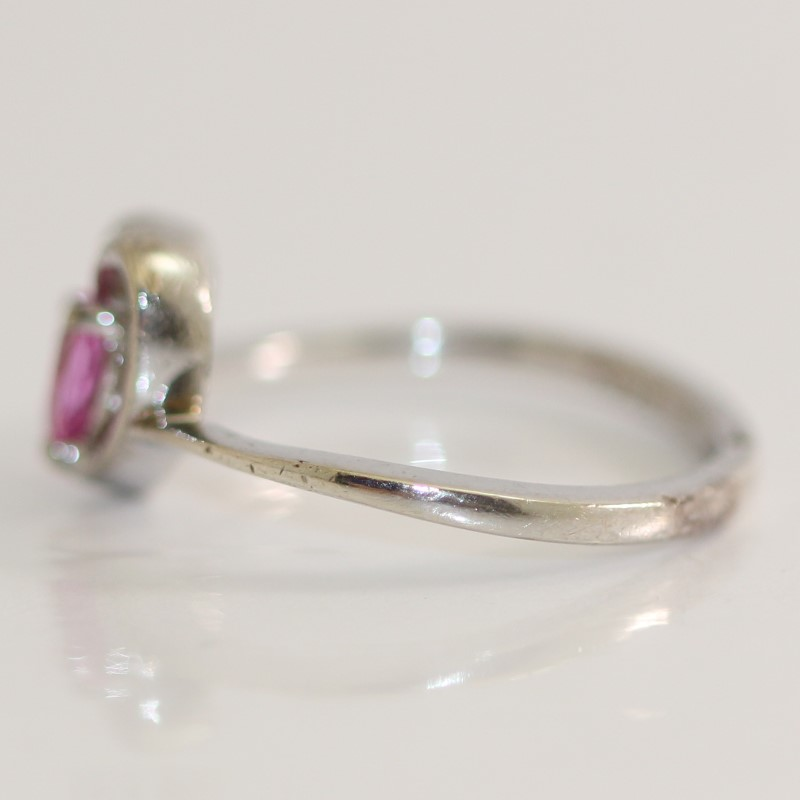 Heart Cut Pink Stone In Heart Shaped Sterling Silver Ring Size 6.75