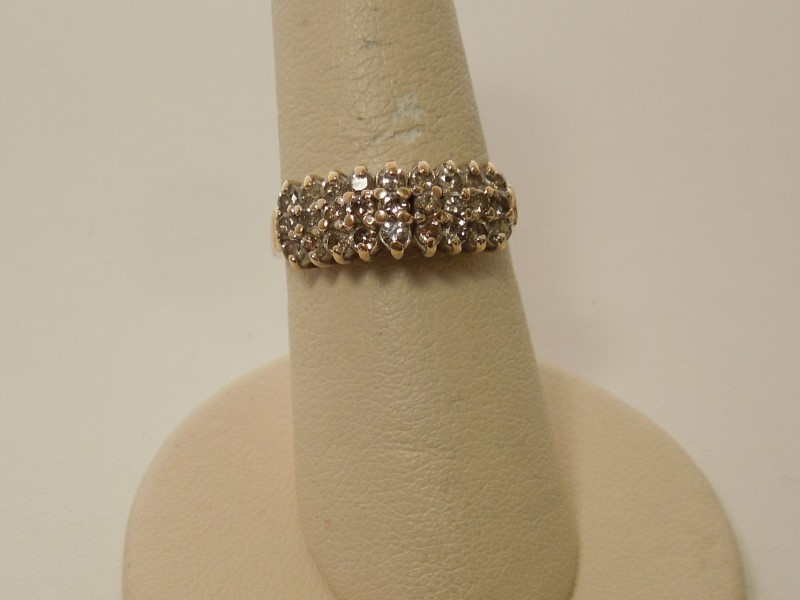 Lady's Diamond Cluster Ring 27 Diamonds .54 Carat T.W. 14K Yellow Gold 3.5g