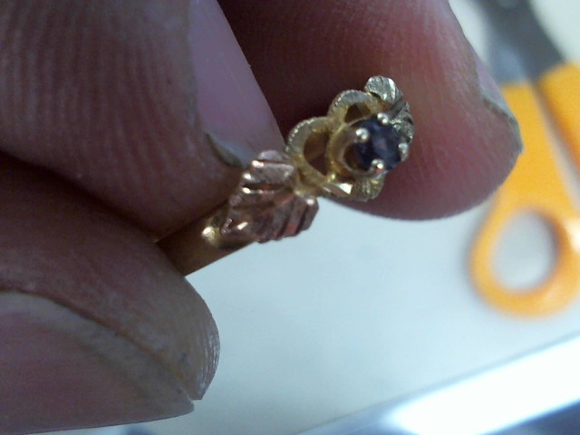 Synthetic Amethyst Lady's Stone Ring 10K Tri-color Gold 1.5g