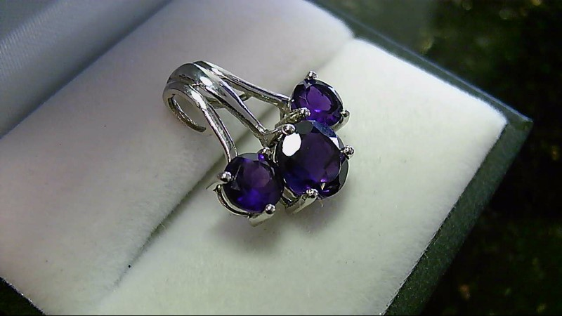 Lady's sterling silver 925 round amethyst pendant