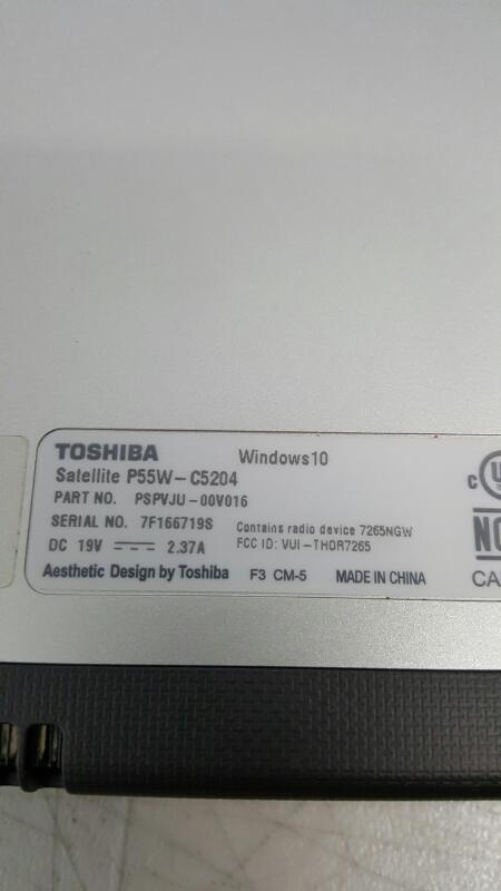 "Toshiba Satellite P55W-C5204 (Win 10, 15.6"" Touch, 1tb, 8gb, Core i7 @ 2.40ghz)"