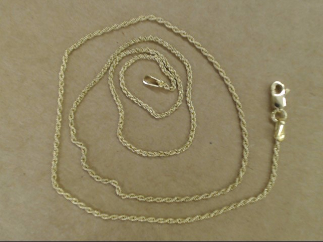 VINTAGE ROPE TWIST NECKLACE CHAIN REAL 10K GOLD THIN 1.2mm 2.4g 18""