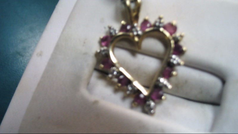 Purple Stone Heart Gold-Diamond & Stone Pendant 10 Diamonds .10 Carat T.W.