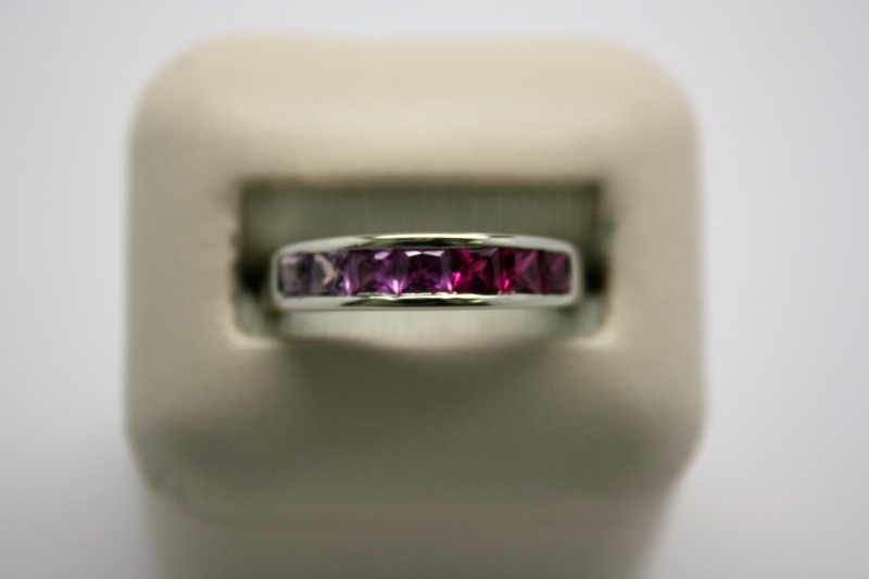 LADY'S SYNTHETIC RUBY RING 10K WHITE GOLD 8