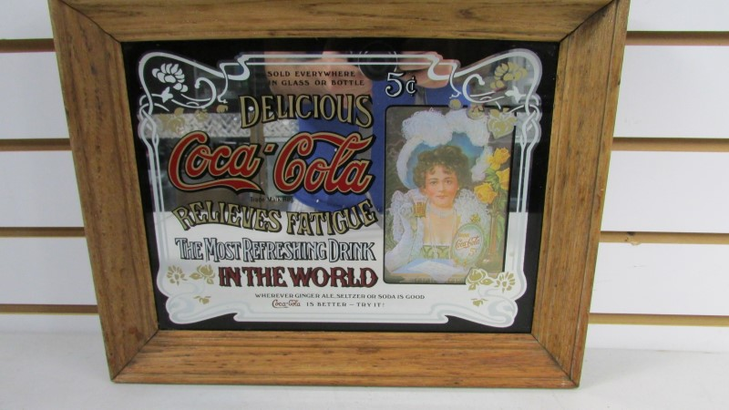 "5 Cent Delicious Coca-Cola Mirror Sign Old Photo Girl 23.5"" Long X 19.5"" High"