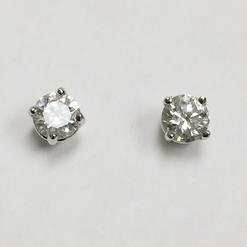 Gold-Diamond Earrings 2 Diamonds .46 Carat T.W. 14K White Gold 0.5dwt