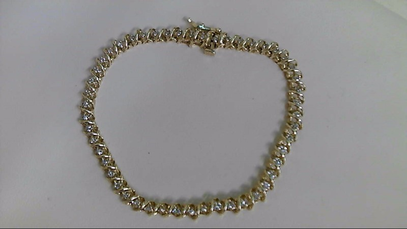 Gold-Diamond Bracelet 53 Diamonds .53 Carat T.W. 14K Yellow Gold 7.6g