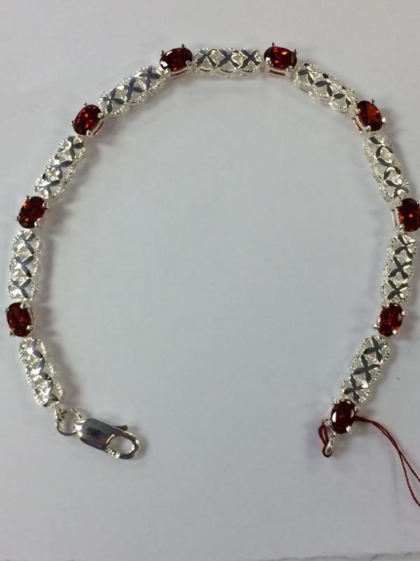 Orange Stone Silver-Stone Bracelet 925 Silver 9g