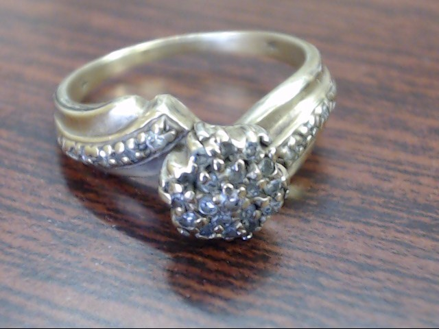 Lady's Diamond Cluster Ring 20 Diamonds .20 Carat T.W. 10K Yellow Gold 3.6g