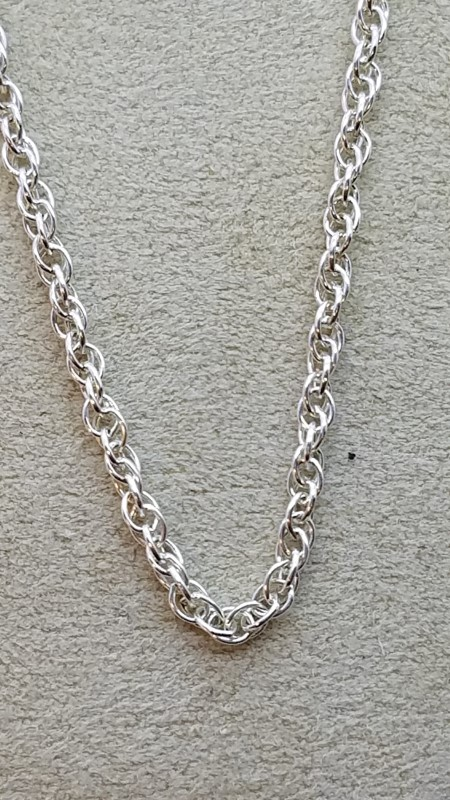 """Sterling Silver Singapor Link Chain 24"""" Circle Clasp 6.1g"""