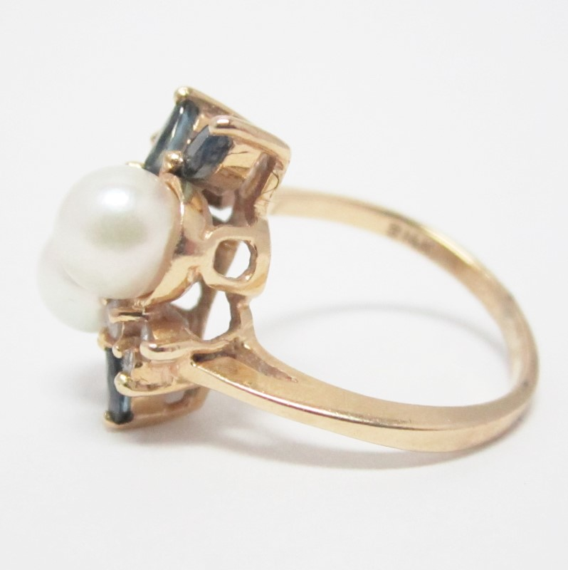 14K Yellow Gold Pearl, Diamond & Blue Gemstone Ring Size 6.5