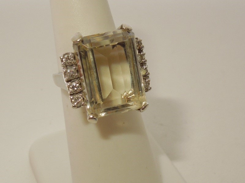 Synthetic Yellow Zircon Lady's Stone & Diamond Ring 8 Diamonds .32 Carat T.W.