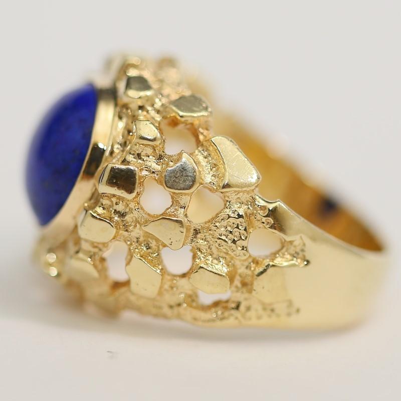 Unique Lapis Unisex 14K Yellow Gold Ring Size 10.5