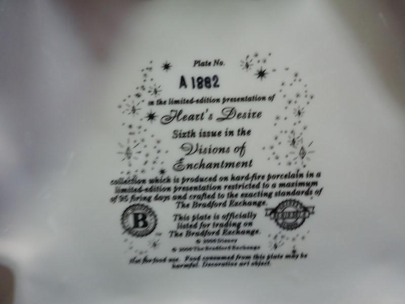 "DISNEY PRINCESS JASMINE ALADDIN PLATE ""HEART'S DESIRE"""