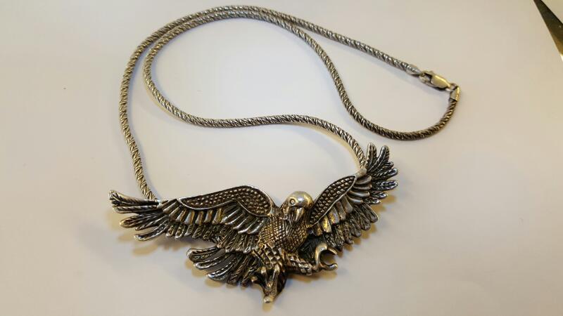 "Silver Eagle 3"" Pendant & 18"" Rope Chain 925 Silver 17.37dwt"