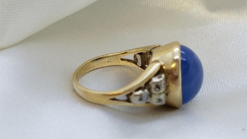 Ladies Cabochon Star Sapphire & Diamond Ring 6 Diamonds .18 Carat T.W.