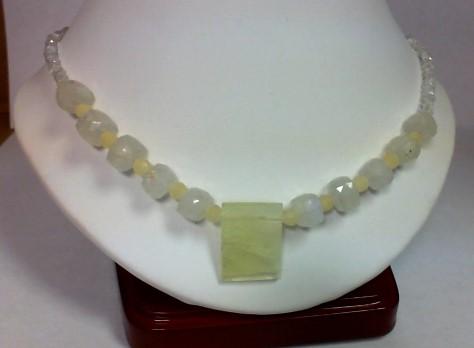 "21"" White Stone Stone Necklace 925 Silver 19.1g"