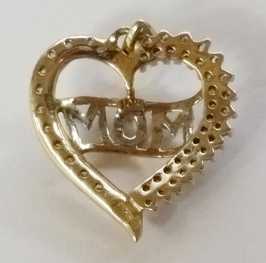 "10K Yellow Gold Heart Shaped Diamond Cluster ""MOM"" Pendant"