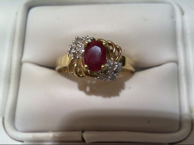 Ruby Lady's Stone & Diamond Ring 8 Diamonds .040 Carat T.W. 10K Yellow Gold
