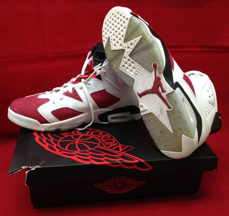 Nike Air Jordan 6 VI Retro White/Carmine-Black 384664 160 2014 Size 14