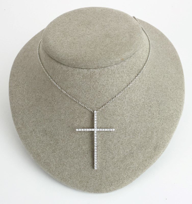 "18"" Diamond Cross Necklace .74 Carat T.W. 14K White Gold 6.63g"