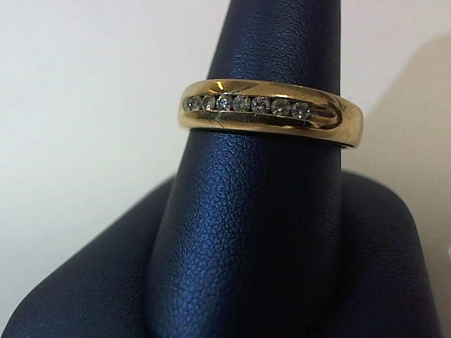 Gent's Gold-Diamond Wedding Band 8 Diamonds .24 Carat T.W. 14K Yellow Gold 5.6g