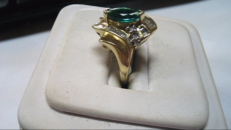 Green Cocktail Stone & Diamond Ring Size 7