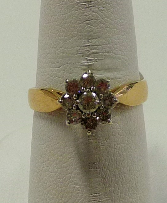 Lady's Diamond Cluster Ring 9 Diamonds .63 Carat T.W. 14K Yellow Gold 1.76dwt