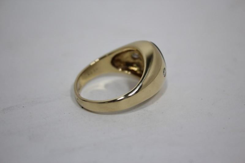 Gent's Stone & Diamond Ring 2 Diamonds .20 CTW. 14KYG 10.7g Size: 11