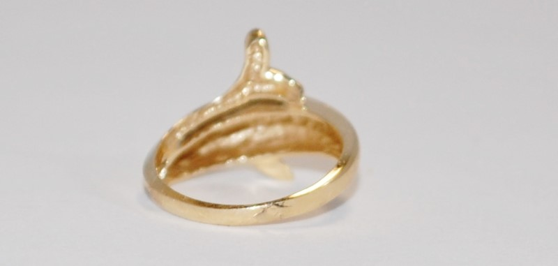 14K Women's Unique Yellow Gold Dolphin Ring Size 6