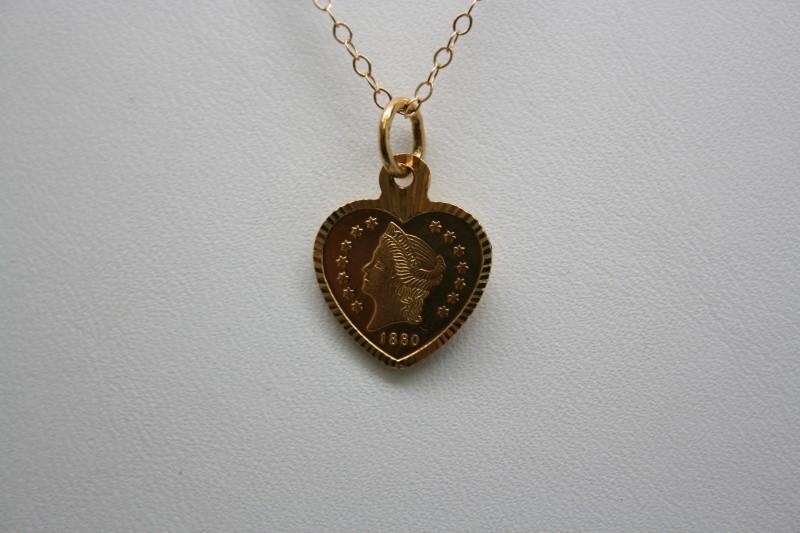 EAGLE HEART SHAPE PENDANT 22K YELLOW GOLD