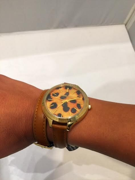Michael Kors Women's Slim Runway Cheetah Wrap Watch Leather Bracelet MK2327 NEW