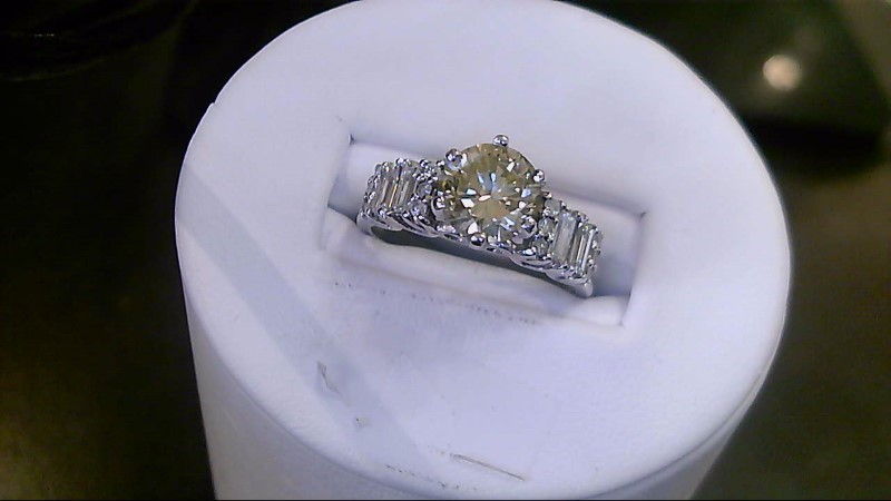 Lady's Diamond Engagement Ring 17 Diamonds 1.90 Carat T.W. 14K White Gold 4.7g