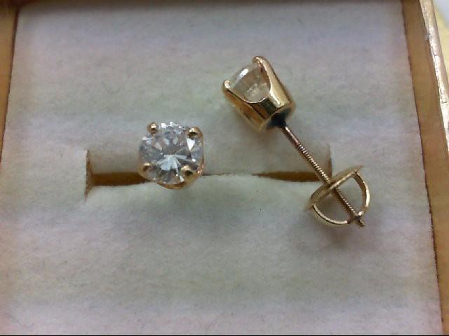 Gold-Diamond Earrings 2 Diamonds 1.00 Carat T.W. 14K Yellow Gold 0.9g